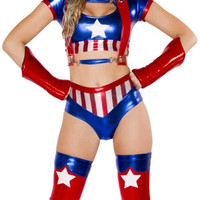 Sexy American Hero Top, Harness and Shorts