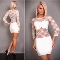 Women's Sexy Slim Party Lace Dress Cocktail Party Clubwear = 4427357700