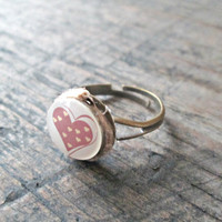 Cute Heart Ring - For Her - Heart Ring - Gift for Teen - Love Ring - Gift for Girlfriend - Kawaii Ring - Girly Ring - Pink Heart Jewelry