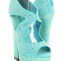 Tiffany Blue Faux Suede Faceted Beaded Cut Out Peep Toe Chunky Platform Heels @ Amiclubwear Heel Shoes online store sales:Stiletto Heel Shoes,High Heel Pumps,Womens High Heel Shoes,Prom Shoes,Summer Shoes,Spring Shoes,Spool Heel,Womens Dress Shoes,Prom He