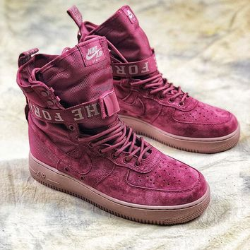 Nike Special Forces Air Force 1 SF AF1 Suede Red Wine Boots Sport Shoes - Best Online Sale