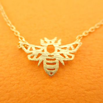 Queen Bumble Bee Outline Shaped Animal Pendant Necklace in Gold