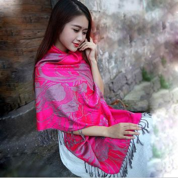 2016 New National Style Restoring Ancient Ways Long Animal Elephants Warm Scarf Female Adornment Photograph Prevented Shawls