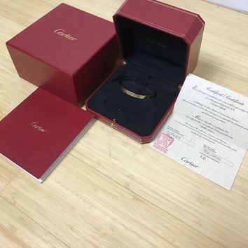 Cartier Love Bracelet Cuff White Gold Pre-owned 18cm Box & Papers Included