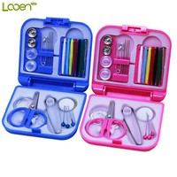 Looen Brand 2017 New Sewing Thread Needle Pin Scissor Thimble Mini Plastic Storage Case Sewing Kit Tool for Home and Travel Use