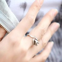 Little Mouse Wrap Open Ring silver