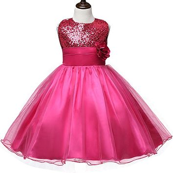 New Flower Children Ball Gown Sequin Formal Wedding Princess Girl Tutu Dress for Party Girls Clothes Kids Dresses Girl Clothing