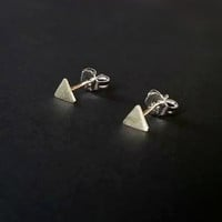 Tiny Silver Triangle Stud Earrings, Small 4mm Sterling Silver Earrings, Triangular Post earrings, Silver Triangle Jewelry