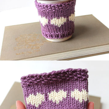 Organic Coffee Sleeve, Vegan Cup Cozy, Purple Coffee Cozy, Cotton Cup Sleeve, Gift For Her, Gift For Spring, Gift For Mom, Mothers Day