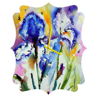 Ginette Fine Art Bearded Irises Quatrefoil Clock