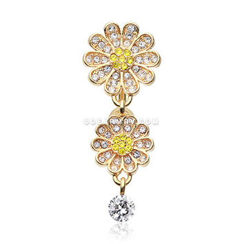 Golden Daisy Glam Multi-Gem Reverse Belly Button Ring (Clear/Yellow)