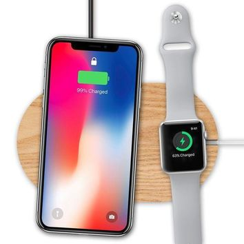 Wood Wireless Charger & Apple Watch Stand Olvoo Fast Qi Wireless Charging Pad For Apple Iphone X/ Iphone 8/8 Plus Samsung Galaxy Note 8/ S8 / S8+ And All Qi Enabled Device (pad)
