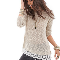 FOREVER 21 Lace-Trimmed Open-Knit Sweater