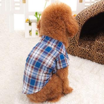 deals] Small Dog Pet Puppy Apparel Plaid Shirt Clothing Coat Pet Clothes Coat Hoodie = 5988065857