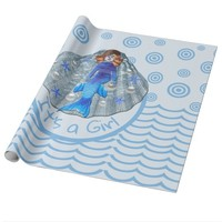 Americus Mermaid Shell It's a Girl Wrapping Paper