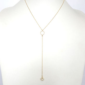 Angel Of Mine Crystal & Pearl Drop Necklace