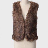 backwoods faux fur vest at ShopRuche.com