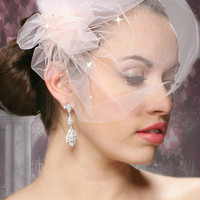 Tulle Bridal Birdcage Veil with Side Pouf & Swarovski Crystals