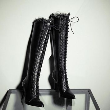 Brand New Women's High Boot Lace Up high heel Long Thigh Boots Shoes Black