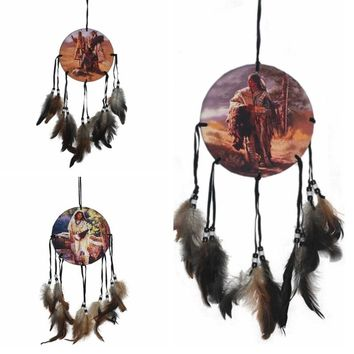 Native American Decoration Brown Long Dream Catcher Beaded home Decor Ornament Craft Gift