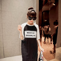 Stripe Raglan Sleeve T-Shirt Dress