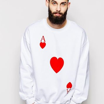 Reclaimed Vintage Sweatshirt With Playing Card Heart Print