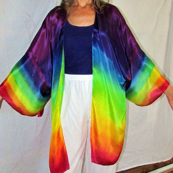 silk kimono jacket, Rainbow Goddess, rainbow jacket, silk sover up, resort wear, festival wear, goddess wear, pagan, wiccan