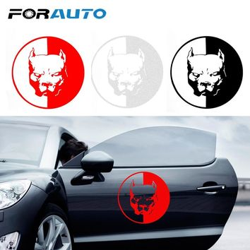 FORAUTO Car Sticker Bulldog Pitbull Reflective Auto Decoration Car-styling Cool Car Stickers and Decals Car Accessories 12*12CM