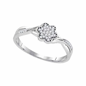10kt White Gold Womens Round Diamond Flower Cluster Ring 1/10 Cttw