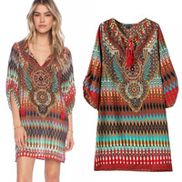 Women's Fashion V-neck Print One Piece Dress [4914968964]