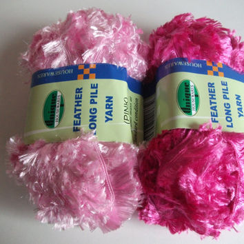 Destash Yarn. 2 x 50g Balls of Polyester Feathery/Eyelash yarn in Pastel Pink or Dark Pink. Knitting, Crochet, Crafting, Supplies. Wool,