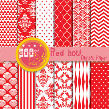 Red digital paper, 'red hot' red backgrounds. 12 red patterns