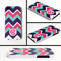 iPhone 5 Cell Phone Case Pink Purple Mint Chevron Circle Monogram Initials Apple Personalized Protective White Plastic Hard Cover VM-1015