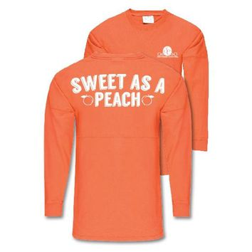 Southern Couture Sweet As A Peach Jersey Pullover Oversized Long Sleeve T-Shirt