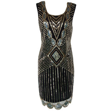 Gatsby BLACK Dress Tunic Top Evening 1920's Shift Dress Full of Sequins Vintage Flapper Dress