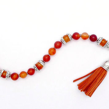 Carnelian Tassel Bracelet – Orange Gemstone Silver Plated Bracelet – Orange Suede Leather Tassel – Boho Silver Bracelet