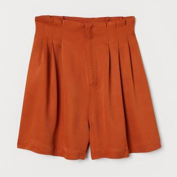 Viscose Twill Shorts - Dark orange - Ladies | H&M US