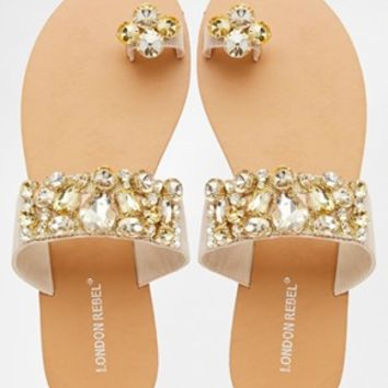 London Rebel Klip Jewel Toe Post Flat Sandals