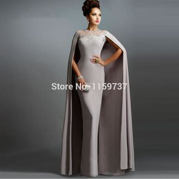 Ladies Long Evening Dresses With Cape 2017 Collection Formal Appliques O-neck Evening Gowns Fashion Brand