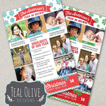 Christmas Card \ Year In Review \ Christmas Newsletter \ Merry Christmas \ Holiday Card \ 5x7