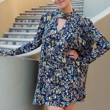 New You Navy Blue Floral Print Long Sleeve Dress