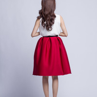 Burgundy Pleated Midi Skirt Cotton Tutu Spring Skirt