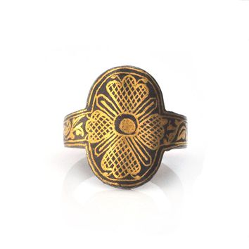 Damascene Floral Ring