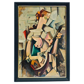 Cubist Musician Oil Painting