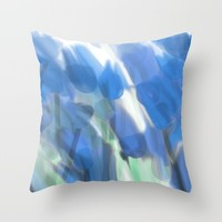 Meadow Flowers  In Soft Blue Throw Pillow by Jen Warmuth Art And Design