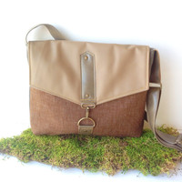 commuter • leather and canvas crossbody bag  • tan faux leather - brown cotton - charcoal gray canvas  • small messenger