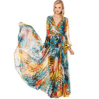 Beach Dress V-neck Beach Bohemia Long Sleeve Summer Chiffon One Piece Dress = 5893360065