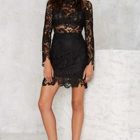 Right Lace Right Time Mock Neck Dress