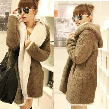 ONETOW Fashion Women Cashmere Wool Winter Parka Coat Trench Outwear Jacket Cardigan = 1932570052