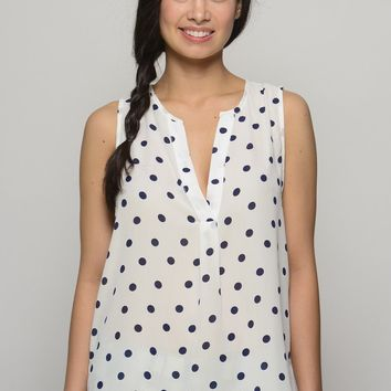 Sweet Thing White and Navy Polka Dot Top